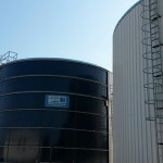 Rezervor de stocare apa potabila, cilindric , suprateran ,din otel vitrificat, cu capacitate de 1000 mc, montate in localitatea Mihail Kogalniceanu